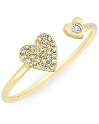 Anne Sisteron - 14kt Yellow Gold Diamond Flat Top Stacking Ring - Lyst