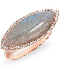 Anne Sisteron | 14kt Rose Gold Labradorite Diamond Marquis Ring | Lyst