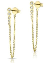 Anne Sisteron - 14kt Yellow Gold Diamond Bezel Bar Chain Stud Earrings - Lyst
