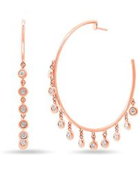 Anne Sisteron - 14kt Rose Gold Diamond Droplets Nile Hoop Earrings - Lyst
