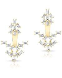 Anne Sisteron - 14kt Yellow Gold Baguette Diamond Anastasia Floating Earrings - Lyst