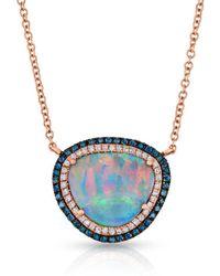 Anne Sisteron - 14kt Rose Gold Blue Diamond Halo Opal Necklace - Lyst