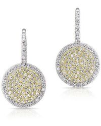 Anne Sisteron - 14kt White Gold And Yellow Gold Diamond Disc Earrings - Lyst