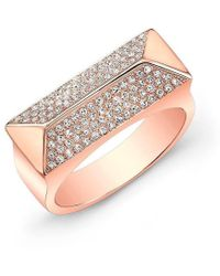 Anne Sisteron - 14kt Rose Gold Diamond Pyramid Bar Ring - Lyst