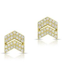 Anne Sisteron - 14kt Yellow Gold Diamond Double Maverick Chevron Diamond Stud Earrings - Lyst