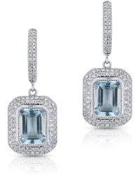 Anne Sisteron - 14kt White Gold Diamond Aquamarine Rectangle Earring - Lyst