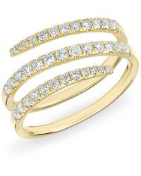 Anne Sisteron - 14kt Yellow Gold Half Diamond Spring Ring - Lyst
