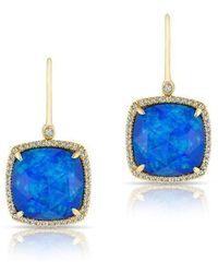 Anne Sisteron - 14kt Yellow Gold Opal Mini Cushion Diamond Earrings - Lyst