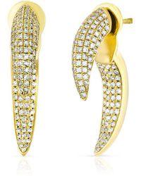 Anne Sisteron - 14kt Yellow Gold Diamond Sabre Earrings - Lyst
