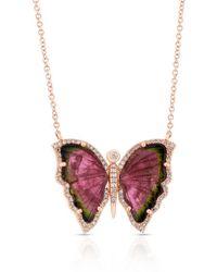 Anne Sisteron - 14kt Rose Gold Pink Tourmaline Diamond Butterfly Necklace - Lyst