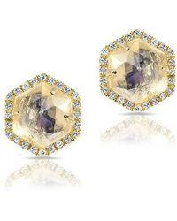 Anne Sisteron - 14kt Yellow Gold Moonstone Diamond Hexagon Stud Earrings - Lyst