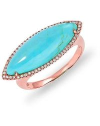 Anne Sisteron | 14kt Rose Gold Diamond Turquoise Marquis Ring | Lyst