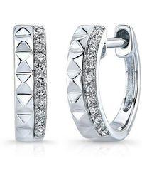 Anne Sisteron - 14kt White Gold Spike & Diamond Huggie Earrings - Lyst
