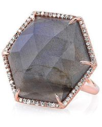 Anne Sisteron - 14kt Rose Gold Labradorite Diamond Hexagon Cocktail Ring - Lyst