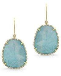 Anne Sisteron - 14kt Yellow Gold Blue Apatite Diamond Earrings - Lyst
