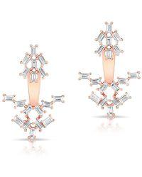 Anne Sisteron - 14kt Rose Gold Baguette Diamond Anastasia Floating Earrings - Lyst