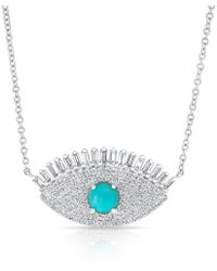 Anne Sisteron | 14kt White Gold Baguette Diamond And Turquoise Gypsy Necklace | Lyst