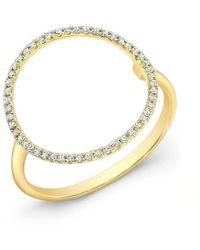 Anne Sisteron | 14kt Yellow Gold Diamond Open Circle Diamond Ring | Lyst