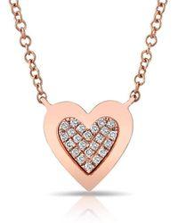 Anne Sisteron - 14kt Rose Gold Diamond Core Heart Necklace - Lyst