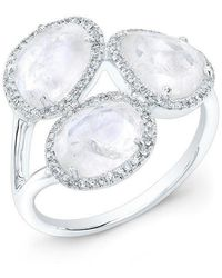 Anne Sisteron - 14kt White Gold Moonstone Diamond Trinity Ring - Lyst
