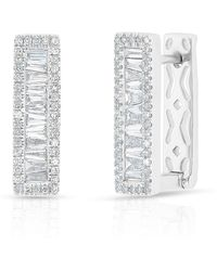 Anne Sisteron - 14kt White Gold Baguette Diamond Rectangle Honey Huggie Earrings - Lyst