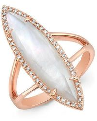 Anne Sisteron - 14kt Rose Gold Diamond Mother Of Pearl Small Celeste Ring - Lyst