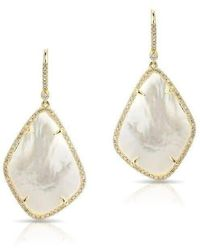 Anne Sisteron - 14kt Yellow Gold Mother Of Pearl Organic Diamond Earrings - Lyst