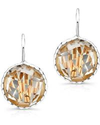 Anne Sisteron - 14kt White Gold White Topaz Round Earrings - Lyst