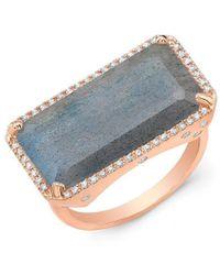 Anne Sisteron - 14kt Rose Gold Diamond Base Labradorite Ring - Lyst