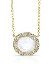 Anne Sisteron - 14kt Yellow Gold Diamond Slice Double Halo Necklace - Lyst