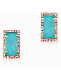 Anne Sisteron - 14kt Rose Gold Diamond Turquoise Sara Stud Earrings - Lyst