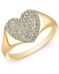 Anne Sisteron - 14kt Yellow Gold Diamond Rachel Heart Ring - Lyst