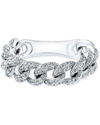Anne Sisteron - 14kt White Gold Diamond Thin Chain Link Ring - Lyst