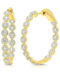"Anne Sisteron - 14kt Yellow Gold Diamond Ellie 1.15"" Hoops - Lyst"