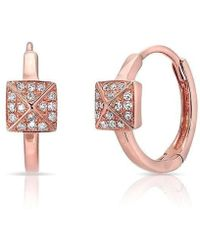 Anne Sisteron - 14kt Rose Gold Diamond Pyramid Huggie Earrings - Lyst