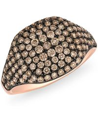 Anne Sisteron - 14kt Rose Gold Champagne Diamond Cushion Pinkie Ring - Lyst