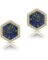Anne Sisteron - 14kt Yellow Gold Lapis Diamond Hexagon Stud Earrings - Lyst