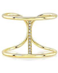 Anne Sisteron - 14kt Yellow Gold Diamond Bridge Ring - Lyst
