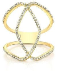 Anne Sisteron - 14kt Yellow Gold Diamond Edgy Cigar Band Ring - Lyst