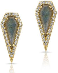 Anne Sisteron | 14kt Yellow Gold Labradorite Diamond Shield Earrings | Lyst