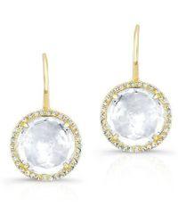 Anne Sisteron - 14kt Yellow Gold White Topaz Diamond Round Earrings - Lyst