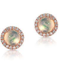 Anne Sisteron - 14kt Rose Gold Mini Round Opal Diamond Stud Earrings - Lyst