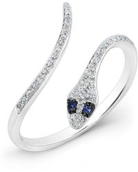 Anne Sisteron - 14kt White Gold Diamond Slytherin Ring With Blue Sapphire Eyes - Lyst