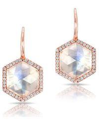 Anne Sisteron | 14kt Rose Gold Diamond Moonstone Hexagon Earrings | Lyst