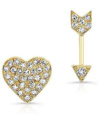 Anne Sisteron - 14kt Yellow Gold Diamond Cupid Earrings - Lyst