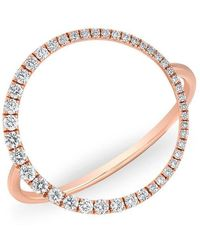 Anne Sisteron - 14kt Rose Gold Diamond Luxe Open Circle Ring - Lyst