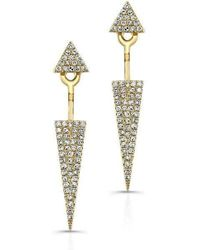 Anne Sisteron - 14kt Yellow Gold Diamond Double Triangle Floating Earrings - Lyst
