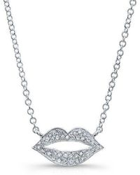 Anne Sisteron - 14kt White Gold Diamond Lips Necklace - Lyst