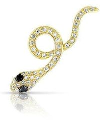Anne Sisteron - 14kt Yellow Gold Black Diamond Snake Ear Climber - Lyst
