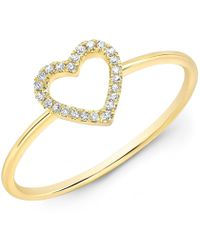 Anne Sisteron - 14kt Yellow Gold Diamond Open Heart Ring - Lyst